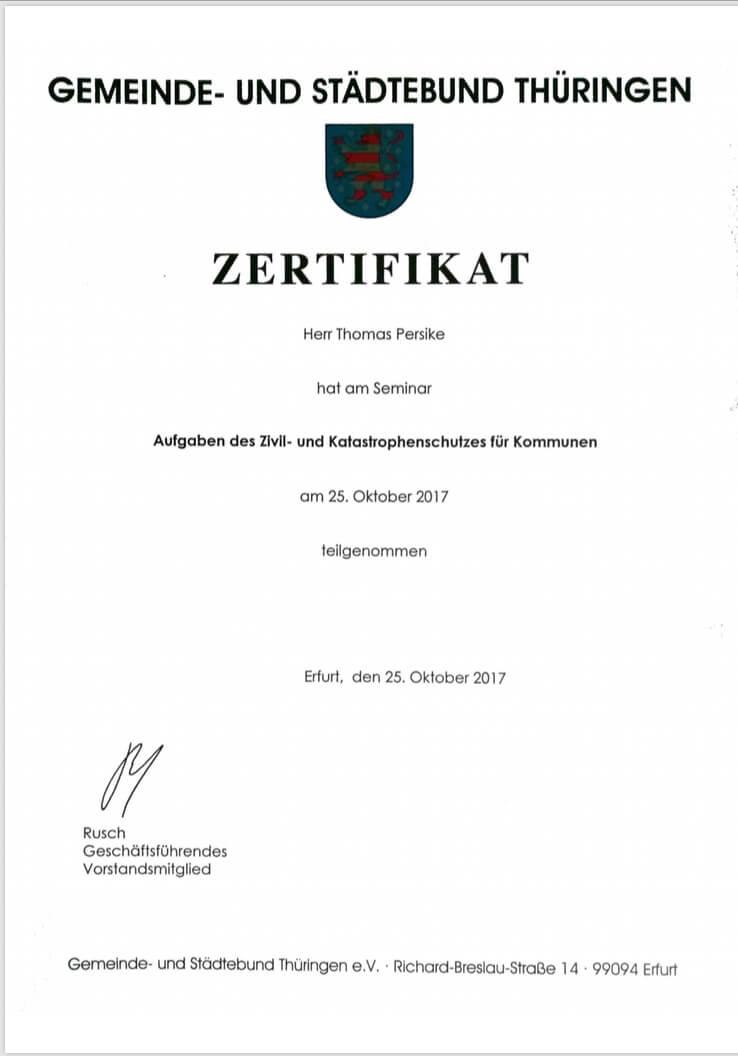 Thomas Persike Seminarbescheinigung Aufgaben Zivil- und Katastrophenschutz für Kommunen