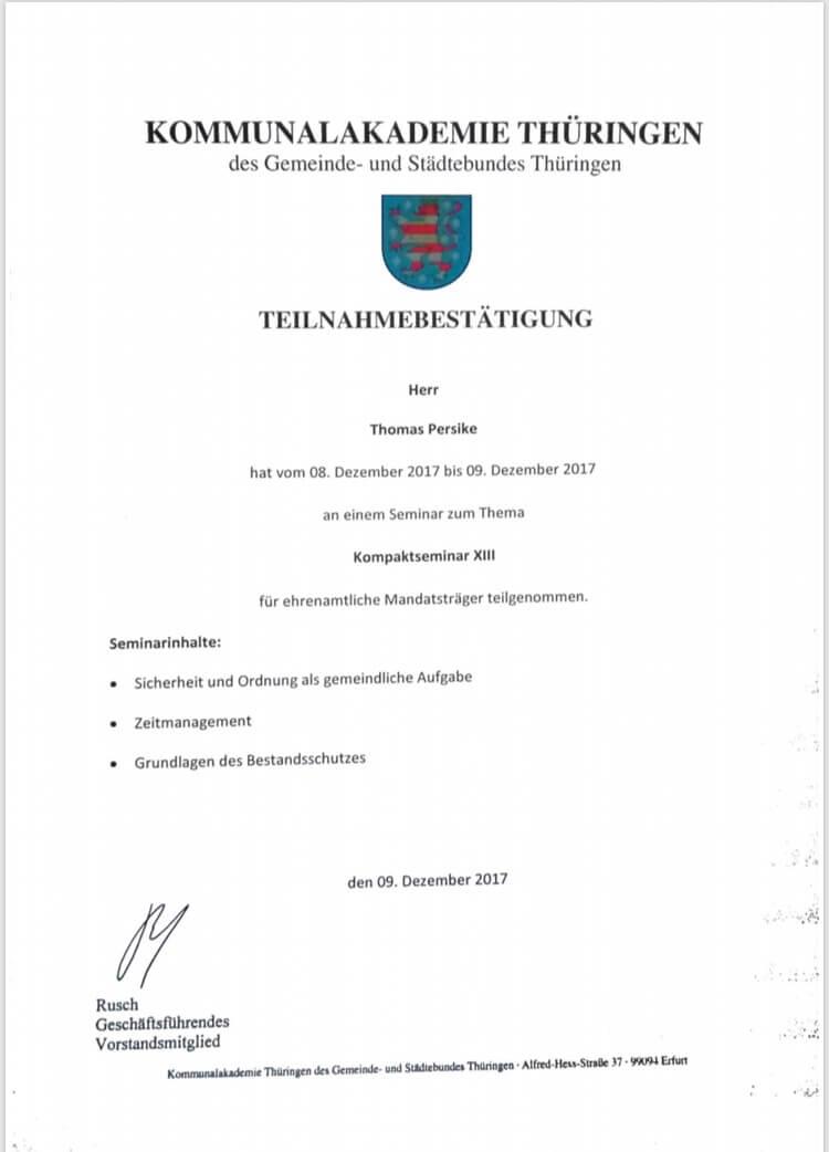 Thomas Persike Seminarbescheinigung für ehrenamtliche Mandatsträger
